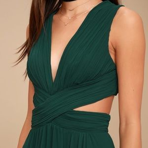 Vivid Imagination Forest Green Cutout Maxi Dress